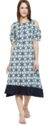 Cold Shoulder Printed Round Kurti