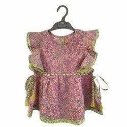 Cotton Round Neck Kids Short Top, Packaging Type: Packet