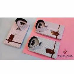 Men Cotton Swiss Club Mens Formal Office Wear Checks Shirt