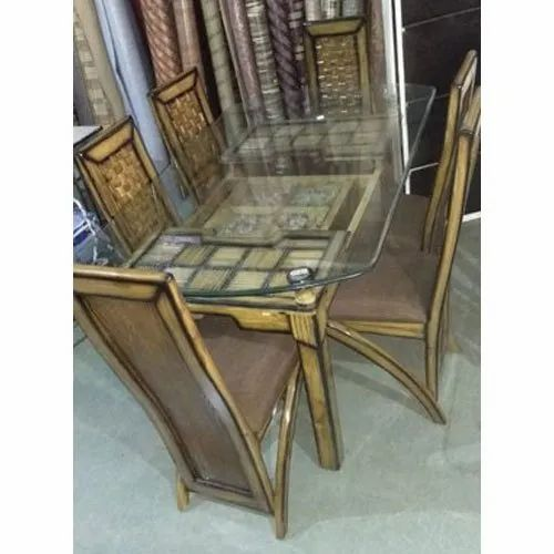 Brown Rectangular Glass Top Wooden Dining Table Set For Home Rs 25000 Unit Id 21396867497