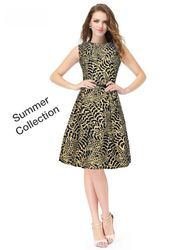 Party Wear And Casual Wear Printed Single Piece Dress