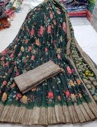 Casual Wear Linen Jute Cotton Sarees