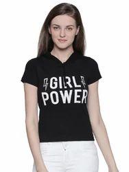100% Cotton Women's Half Sleeve Black Colour T-Shirt