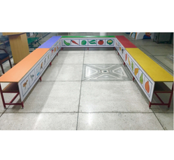 U Counter With 30 Printed Laminated Back Chairs Set
