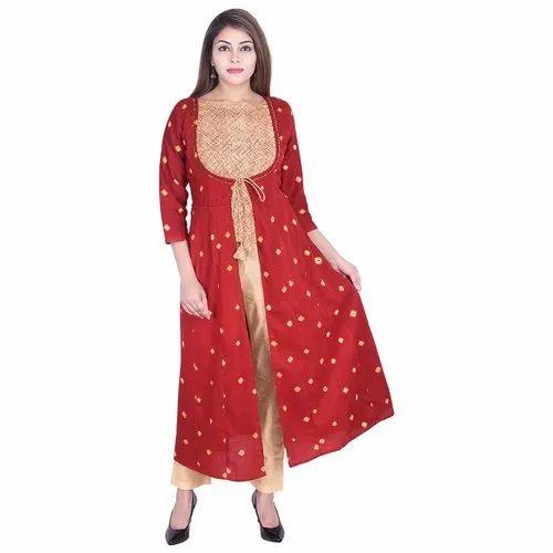 Lavanya Cotton Bandhej Flared Top With Shrug Pant Set