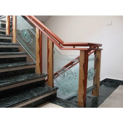 wooden glass staircase at rs 570