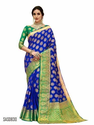 b84943a410 TraditionalFashionDesigner Wedding Wear Royal Blue Color Banarsi Silk Saree,  5.5 m (separate blouse piece