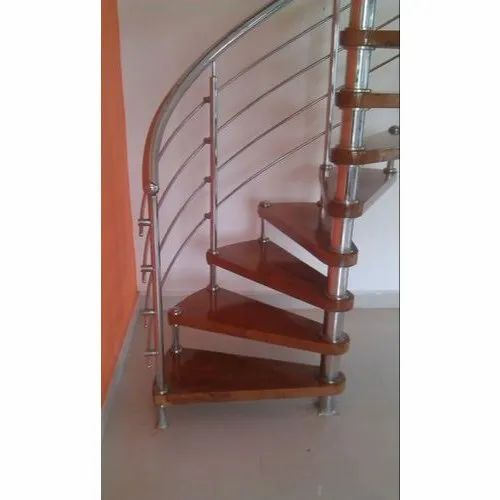 Stainless Steel Wooden Spiral Staircase