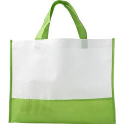 White And Green Loop Handle Carry Bag