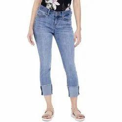 Stretchable Button Ladies Denim Jeans
