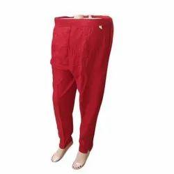 Regular Fit Plain Ladies Red Button Cotton Pant