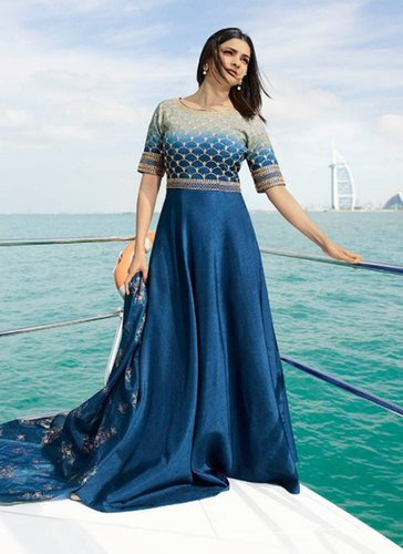 3b7363078e Ladies Gown - Ladies Embroidered Long Gown Manufacturer from Surat