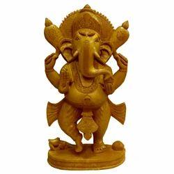 Wooden Standing Open Ganesha Statue