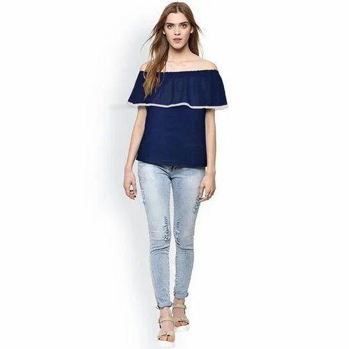 9fc522a56c2 Cotton Ladies Navy Blue Off Shoulder Top, Size: M, L & XL, Rs 325 ...