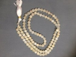 Natural White Moonstone Gemstone Smooth Round Rosary Beads, Genuine Prayer Japa Mala 108 1