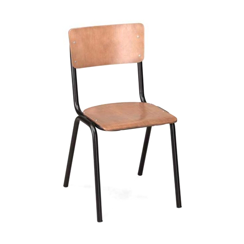 Brown Wooden Iron School Chair