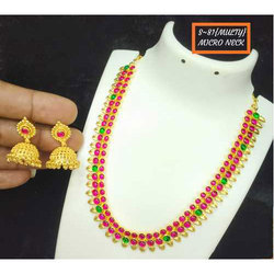 Ladies Kundan Necklace Set, Packaging Type: Box