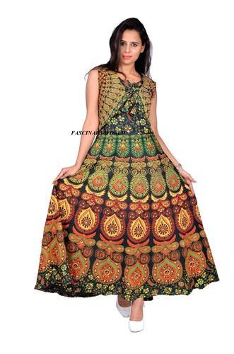 6bdf004982 Cotton Green Women's Rajasthani Handmade Maxi Dress, Rs 350 /piece ...