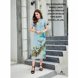 Rachna Linen Digital Printed Work FLoraine Catalog Kurti For Women 6