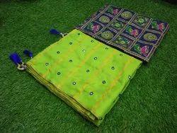 Thankar Party Wear Stylish Sana Silk Mirror Work Saree, 5.2 m (separate blouse piece)