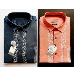 Printed Collar Neck Men Casual Cotton Shirt, Dry clean
