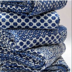 Blue And White Printed Kantha Bedspread