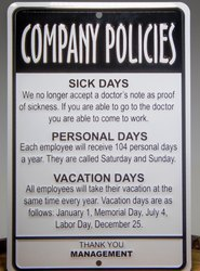 Company Policies Signage