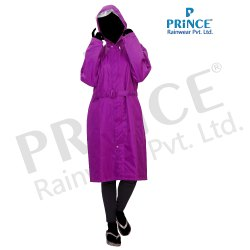 Women Plain Sweety Reversible Rain Long Coat, Size: XL-XXL