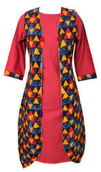 Lavanya Rayon Cotswool- Peach Colour Kurti With Triangle Print Jacket