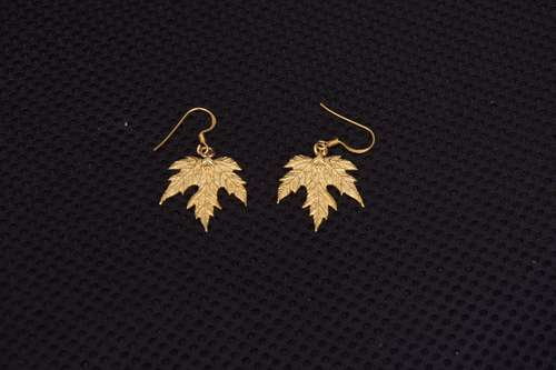 Flash Gold Plated Silver Maple Leaf Design Earring
