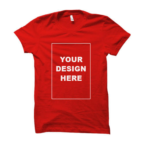 Plain(You Can Also Place Your Logo To Promote Your Brand) Cotton Red Custom Half Sleeve T Shirt