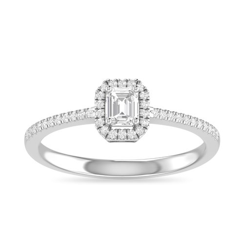 Emerald Cut Sparkle Sapphire Hidden Halo Solitaire With Accents Engagement Ring 14K White Gold Over-White Emerald Wedding Ring For Women