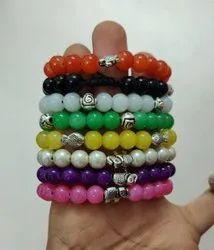 Handmade Multicolor Custom Elastic Stretch Glass Bangle Tile Bead Bracelet For Women