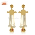 Natural Yellow Pearl Enamel Hand Craved Gold Plated Silver Earrings Jewelry