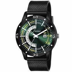 Casual Wear Black Jainx Green Round Dial Date Function Analog Watch For Men's - JM382