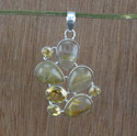 Golden Rutile and Citrine Gemstone 925 Silver Pendant