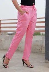 Pink Cotton Flex Pants