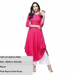 Pink Rayon Solid Kurta