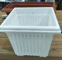 White Plastic Square Garden Planter