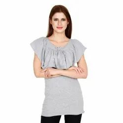 Ladies Cotton Sleeveless Ruffled Neck Casual Top