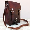 Vintage Leather Double Buckle Portrait Messenger Bag