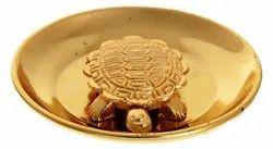 Brass Feng Shui / Vastu Tortoise Figurine (7 cm x 4.5 cm x 2 cm, Gold)