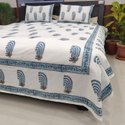 Multi Color Buta Block Print Double Bed Sheet With Pillow