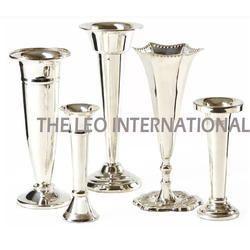 Long Shape Metal Flower Vase Silver Finish