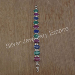 Emerald Three Gemstone Jewelry 925 Silver Bracelet