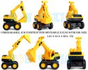 Plastic Yellow Non Toxic Unbreakable Engineering Construction Jcb Excavator Toy