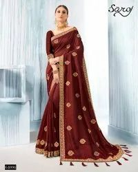 Marron Color Designer Silk Saree