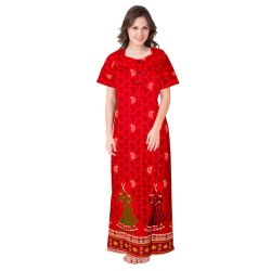 Printed Cotton Full Length Nighty, Size: XL