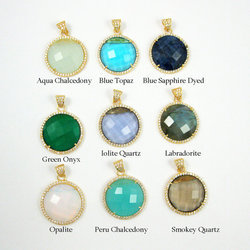 Gemstone Round Faceted CZ Pave Set Pendant