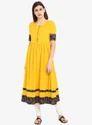 Yellow Gathered A-Line Long Kurta